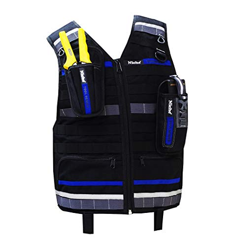 Niche Workwear Tool Vest with Adjustable Strapes, Heavy Duty and Water-repellent Reflective Vest for Construction, Electricians, Plumber, Home Repair (TL-6201)