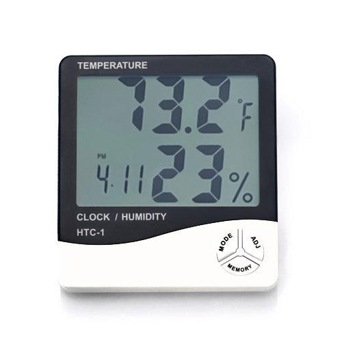 White Arteki Multi Preciser TM Multi-Function Indoor Room LCD Electronic Temperature Humidity Meter Digital Thermometer Hygrometer Weather Station Alarm Clock