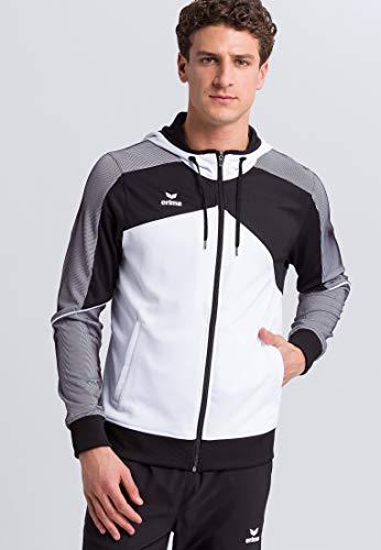 Erima 1071803 Veste d'entraînement avec Capuche Mixte Adulte, Blanc/Noir/Blanc, FR (Taille Fabricant : XL)