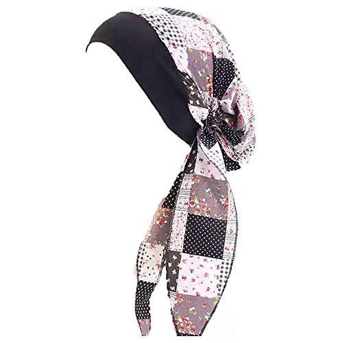 Pluto & Fox Turbante Gorra Pañuelo para Cabeza De Tela De Mujer para Cáncer Quimioterapia Chemo Oncológico Noche Pèrdida de Pelo Cabello (Diseño 9, 1)