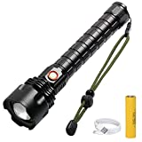 Rechargeable Flashlights High Lumens, 60000 Lumens LED Flashlight with 26650 Batteries, Super Bright, 5 Modes, Zoomable, Waterproof Flashlights for Emergenies, Outdoor or Home