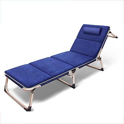 Tumbona reclinable Cama Plegable Individual Cama para Almuerzo de Oficina Sofá Silla Plegable reclinable Cama para Acampar al Aire Libre de 3 Pliegues Cama de acompañamiento Simple, Carga 150 kg, 193
