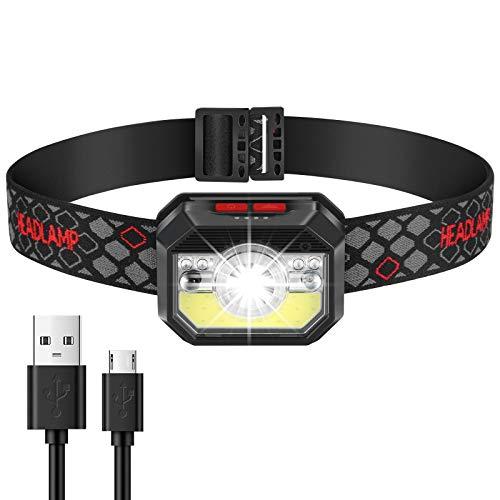 Linterna Frontal LED Recargable, Linterna Cabeza USB 11 Modos con Sensor y Luz Roja, Faro COB Ligera, Linterna de Cabeza Impermeable IPX5 para Acampar, Pescar, Trotar, Correr, Ciclismo y Excursión