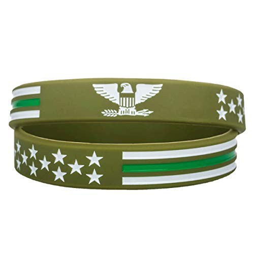 Sainstone Power of Faith Thin Green Line American Flag Silicone Bracelets with American Power Eagle - Wristbands Gifts for U.S. Army, Border Patrol Agents, U.S. Marine Corps, Military Police (Unisex)