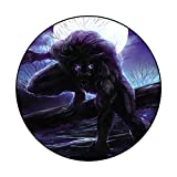 Luxury Round Rugs Werewolf Chromatic Collection Modern Abstract Diameter 43.3 in(110cm)
