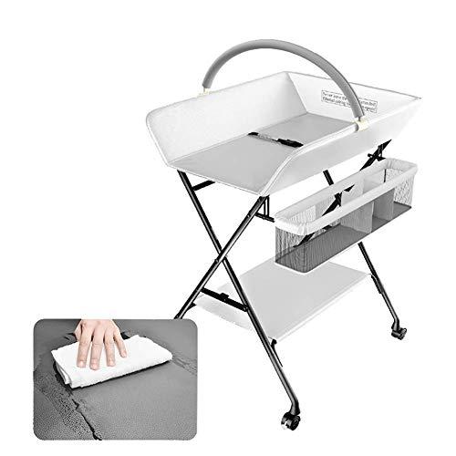 JALAL Tables à Langer Portables sur Roues, pépinières Pliantes pour Petits espaces, avec Rangement, 0-3 Ans