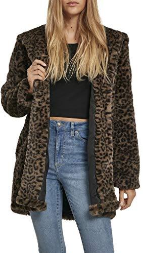 Urban Classics Damen Ladies Leo Teddy Coat Mantel, Mehrfarbig (Dark-Olive 02269), X-Large (Herstellergröße: XL)