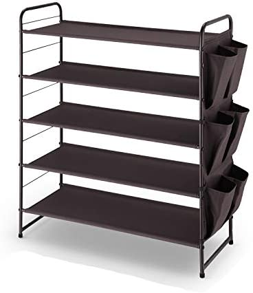 Simple Trending 5 Tier Stackable and Expandable Shoe Rack with Side 6 Shoes Pockets Bronze product image