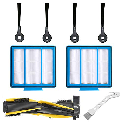 Replacement Part Set Compatible with Shark IQ R101AE (RV1001AE),IQ R101 (RV1001) Robot Vacuum Cleaner, 4 Side Brushes,2 HEPA Filters & 1 Roller Brush Attachments Dining Features Kitchen