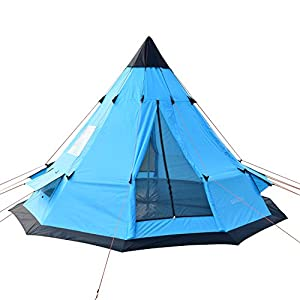 SAFACUS Teepee Tent for Adults 6-7 Person Family Camping Tent, Two doors with Double layer Party Tipi Tent,12' x 12' Tower Post Bell Tent for Family Vacation