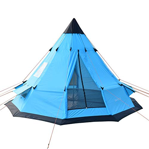 SAFACUS Teepee Tent for 6-7 Person, Family Camping Tipi Tents with Windows and Mesh Vents, 12' x 12' Tower Post Bell Tent for Camping Hiking Vacation