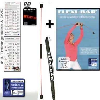 Flexi-Bar Standard Rot, FLEXI-BAR Protection Bag Tragetasche Schwarz, Trainingsposter und 2 DVDs