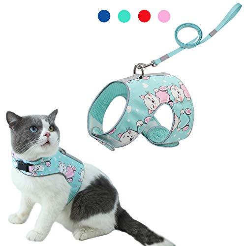 Feimax Katzengeschirr mit Leine Geschirr für Katzen, Ausbruchsicher, Verstellbar, Weiches Netzgewebe, Reflektierend Katzenweste für Klein und Mittel Katze Kätzchen (XS, Grün)