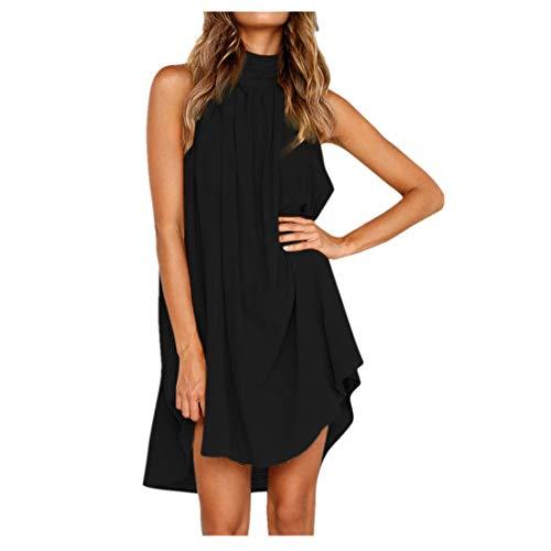 BHYDRY Damen Urlaub unregelmäßige Kleid Damen Sommer Strand ärmelloses Partykleid(Medium,Schwarz)