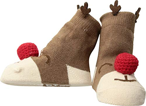 Mud Pie Reindeer Rattle Toe Socks (Infant) Red 0-12 Months