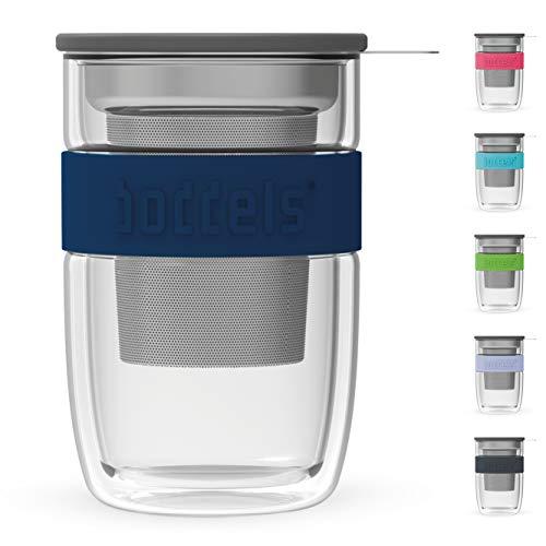 boddels Mug en Verre SEEV 380ml - Mug à thé Double paroi avec infuseur pour la Maison