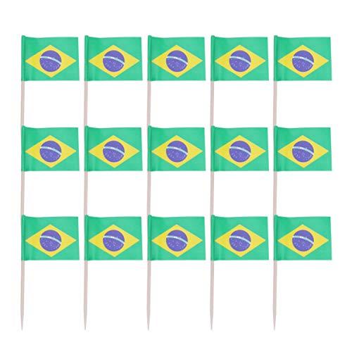 STOBOK Cupcake-Topper mit Brasilien-Flagge, aus Holz, Zahnstocher, für Welt- & Sportpartys, 100 Stück