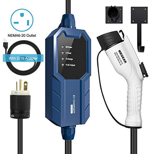 Megear 2021 Gen2 Updated Version Level 1&Level 2 EV Charger (100-240V, 16A, 25ft), Portable EVSE Home Electric Vehicle Charging Station (NEMA6-20&5-15 Plug)