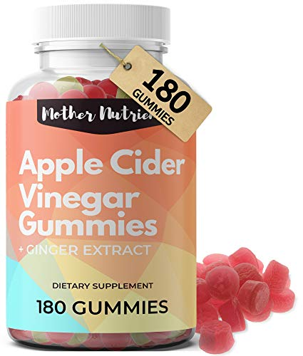 Apple Cider Vinegar Gummies (180 Count Family Size). Raw, Organic, Unfiltered ACV Gummies. Supports Digestive & Imunity Health, Increased Energy, and Detox. Apple Flavor.