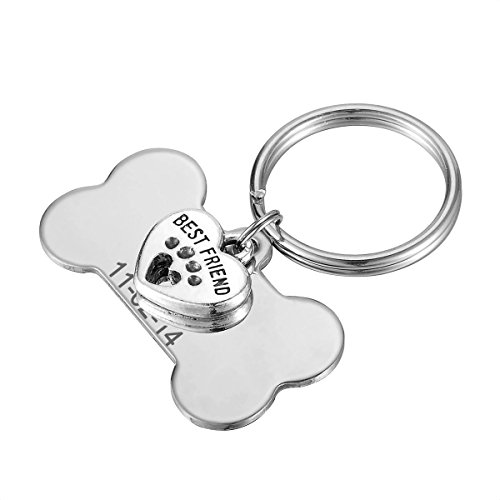 HOUSWEETY Dog Tags Best Friend Palm Heart Pendant+Stainless Steel Pet ID Tag Bond Shape Free Engraved Tags Unisex Tag Keychain Personalized Drop(Engraving)