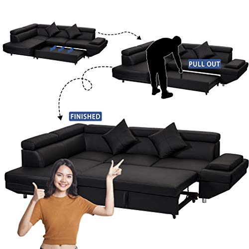 FDW Sofa Sectional Sofa for Living Room Futon Sofa Bed Couches and Sofas Sleeper Sofa Modern Sofa Corner Sofa Faux Leather Queen 2 Piece Modern Contemporary