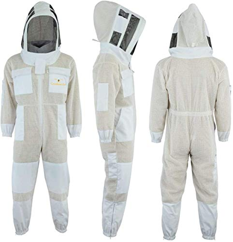 Sting Proof Premium 3 Layer Unisex White Mesh Beekeeping Suit Ultra Ventilated Beekeeping Suit Fencing Veil-L