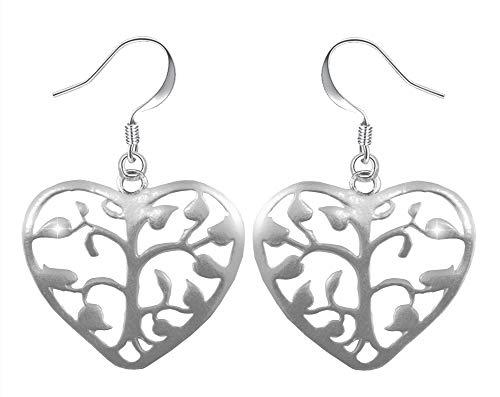 PAPOLY® Pendientes de Corazón y Arbol de la Vida en PLATA DE LEY 925 uno de los símbolos más populares, Gratis Gamuza limpia plata 25x10cm y Estuche. (Pe-Corazon arbol)