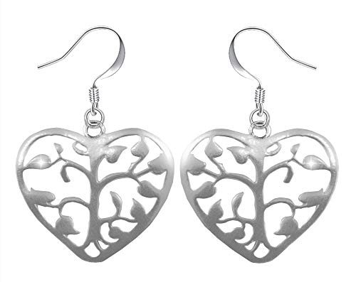 PAPOLY Pendientes de Corazón y Arbol de la Vida en PLATA DE LEY 925 uno de los símbolos más populares, Gratis Gamuza limpia plata 25x10cm y Estuche. (Pe-Corazon arbol)