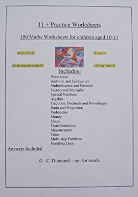 100 Eleven Plus Maths Practice Worksheets- For 11+ exam preparation - pdf file to print from worksheets-online