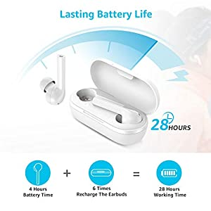 Falwedi IPX7 Waterproof True Wireless Bluetooth Earbuds, 28H Cyclic Playtime Wireless Bluetooth Headphones with Charging Case and mic for iPhone Android, in-Ear Stereo Earphones Headset for Sport