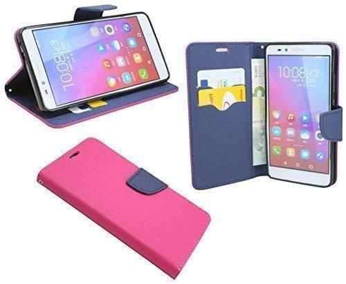 ENERGMiX Buchtasche kompatibel mit Honor 5X Hülle Case Tasche Wallet BookStyle mit Standfunktion in Pink-Blau (2-Farbig