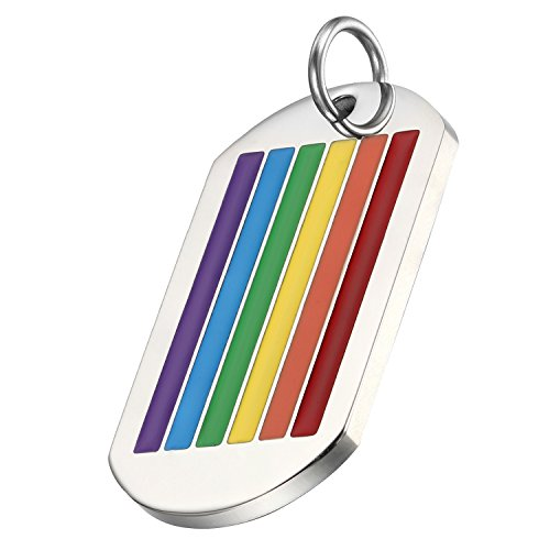 Flongo El Orgullo LGTB, Arco Iris, Colgante de Perro Dog Tag Pulido de Acero Inoxidable, Collar de Placa Moneda, Cadena Larga 55cm, Collar de Hombre Mujer Orgullo