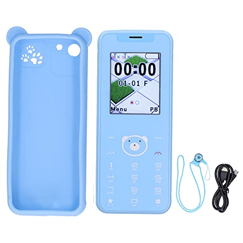 Aukson Teléfonos para niños, teléfonos para niños portátiles con Pantalla de 1.77 Pulgadas Reales, 32 MB + 32 MB, teléfono Inteligente de Doble Modo de Espera con Doble Tarjeta, sin Juegos(Azul)