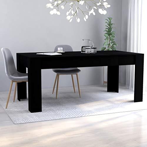 vidaXL Mesa de Comedor Muebles de Salón Cocina Sala de Estar Hogar Robusto Estable Duradera Moderna de Aglomerado Negro 180x90x76 cm