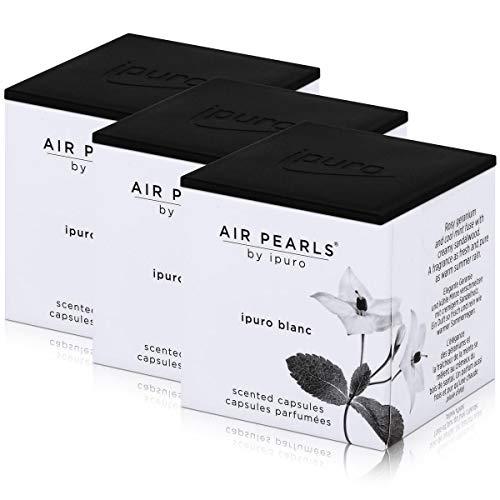 Air Pearls by ipuro - Cápsulas aromáticas (2 x 5,75 g, aroma de geranio y menta fresca fusionada con madera de sándalo cremosa (3 unidades)