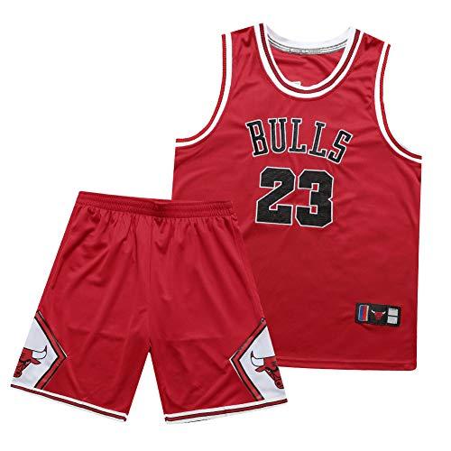 NBNB Completo da Uomo Michael Jordan Chicago Bulls 23# Maglia da Basket, Maglie 90S Hip Hop per Party Retro con Ricamo, Summer Gym Sports Top & Short