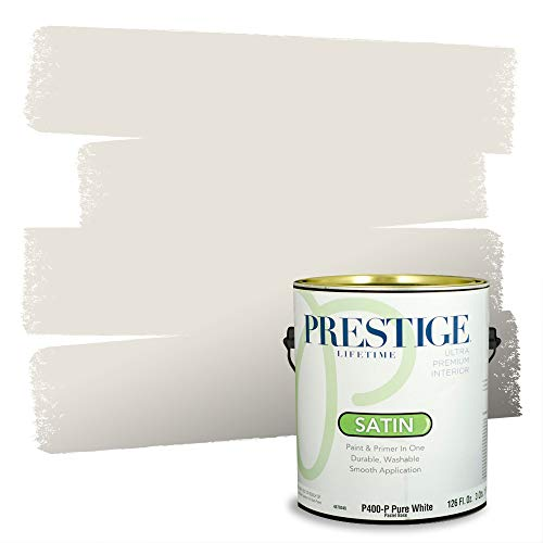 Prestige Paints Interior Paint and Primer In One, 1-Gallon, Satin, Comparable Match of Sherwin Williams* Toque White*