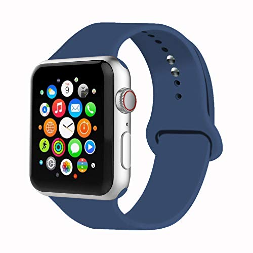 iYou per Cinturino Apple Watch 38mm 42mm, Cinturino di Ricambio in Silicone Morbido Braccialetto Strap per iWatch Apple Watch Series 3/2/1, Edition, (42MM M/L, Blu Oceano)