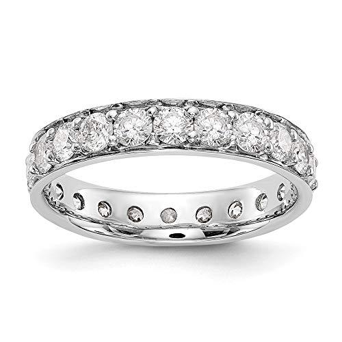 14k White Gold Vintage Diamond Eternity Wedding Band Ring (2 cttw), Size 52 3/4