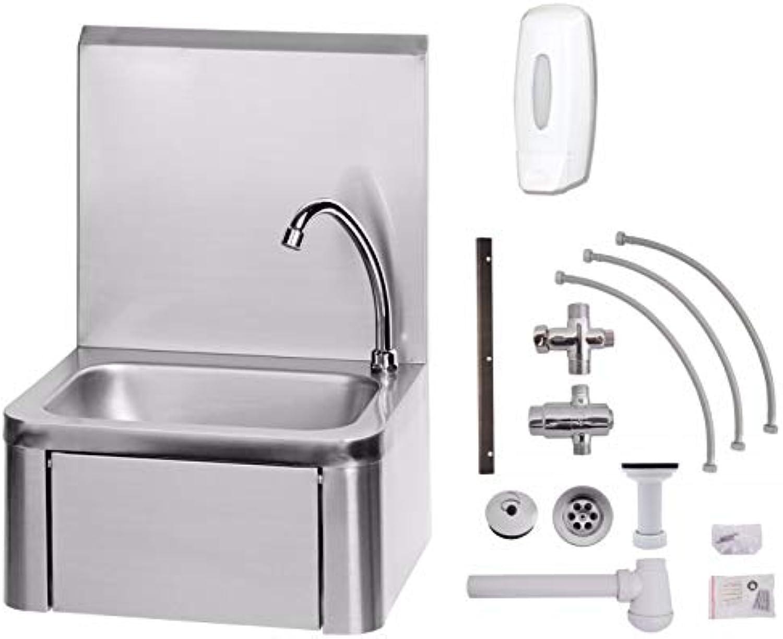 ZORRO - Handwaschbecken Edelstahl mit Kniebedienung + Anschlussset Mischbatterie, Armatur und Seifenspender