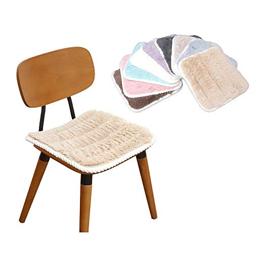 LOLIP Soft Warm Chair Pads Car Seat Cushion Anti Skid Square Seat Cushions Tatami Floor Mat Winter Plush Cushion for Home Patio Kitchen Dining Chair Office Dorm (Color : Beige, Size : 16')