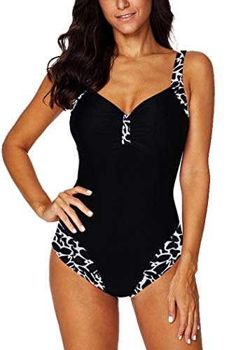 AOQUSSQOA Donna Costume da Bagno Sexy Intero Elegante Stampa Leopardo Swimwear Grandi Dimensioni Costumi da Spiaggia Retro Sirena Swimsuits (5XL, F)