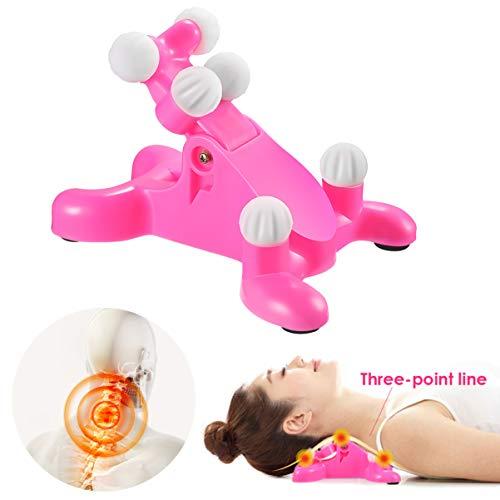 Healifty Nackenmassagegerät - Nackenschmerzen Linderung Massagegerät, Nacken und Schulter Relaxer, Massage Traktion Kissen, Shiatsu Nackenmassagegerät, Nackentraktionsgerät(Rosa)