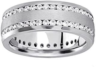 2.00 ct TW Men's Round Cut Diamond Eternity Wedding Band In Channel Setting in 18 kt White Gold
