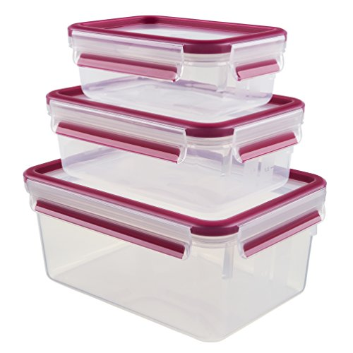 Emsa 515584 Food Clip & Close, Plastik, Transparent / Pink, 0,55 / 1 / 2,3 Liter, Set mit 3 Boxen
