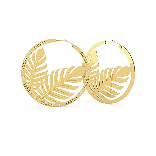 Guess Jewellery Pendientes de aro de oro con hojas dobles de 60 mm de verano tropical UBE70228