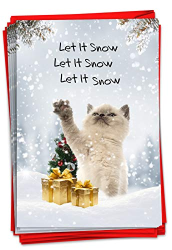 NobleWorks - 12 Boxed Christmas Greeting Cards Funny - Animal Humor Cards for Christmas, Holiday Bulk Set (1 Design, 12 Cards) - Tree Fainted Cat B2546XSG