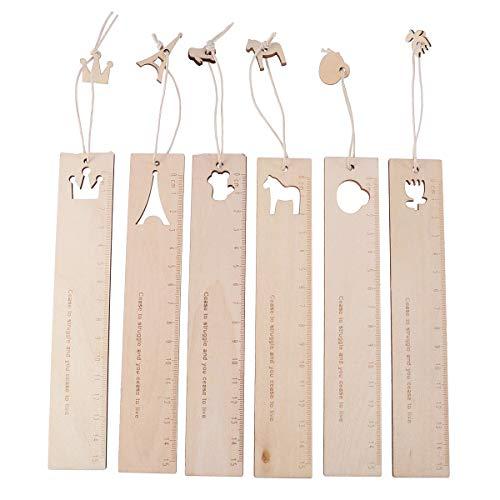 STOBOK 15 cm Righelli in legno Carino Studente Righelli Strumento di misura Scava fuori i righelli con ciondolo per bambini Scuola (6Pcs)