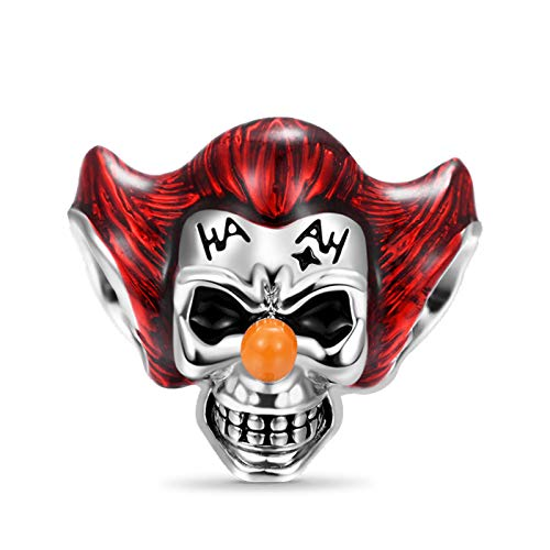 GNOCE Clown Skull Charm Bead 925 Sterling Silver Joker Con Red Hair...