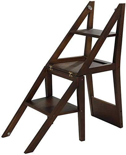 Ladder stool folding Folding ladder Nordic Solid Wood Ladder Chair Dual-purpose Multi-function Simple Household Folding Ladder Rack Four-layer Ascending Step Stool Chair Step stool ( Color : B )